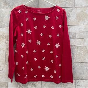Talbots Snowflake Embroidered Top